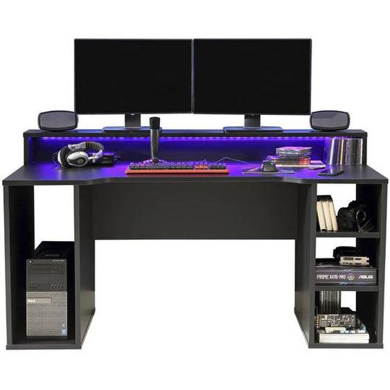 FORTE Schreibtisch, Schwarz, Kunststoff