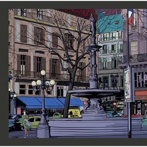 Fototapete Abenddämmerung über einem Platz in Paris 154 cm x 200 cm