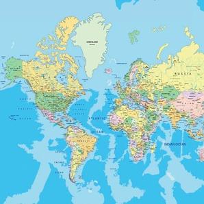 PAPERMOON Fototapete »World Map«, Vlies, in verschiedenen Größen