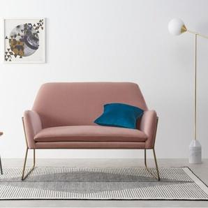 Frame grosser Sessel, Samt in Zartrosa und Messing