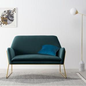 Frame breiter Sessel, Baumwollsamt in Petrolblau