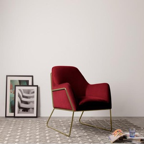 Frame Sessel, Messing und Samt in Bordeauxrot