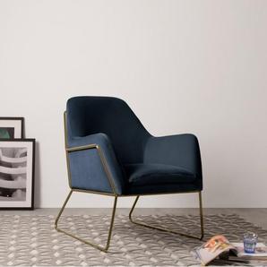Frame Sessel, Messing und Samt in Marineblau