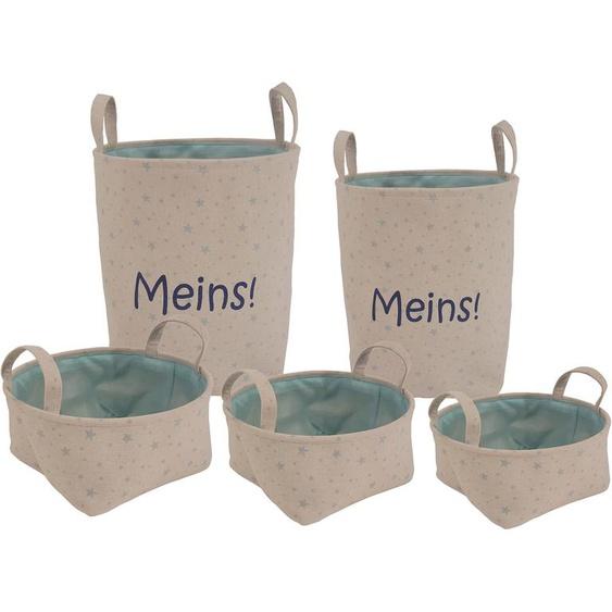 Franz Müller Flechtwaren Aufbewahrungsbox Kids - Meins, (Set, 5 St.), 5er Set B/H: 20 cm-25 cm-30 cm-35 cm-40 cm x 10 cm-12 cm-14 cm-42 cm-48 cm, Stern blau Kleideraufbewahrung Aufbewahrung Ordnung Wohnaccessoires