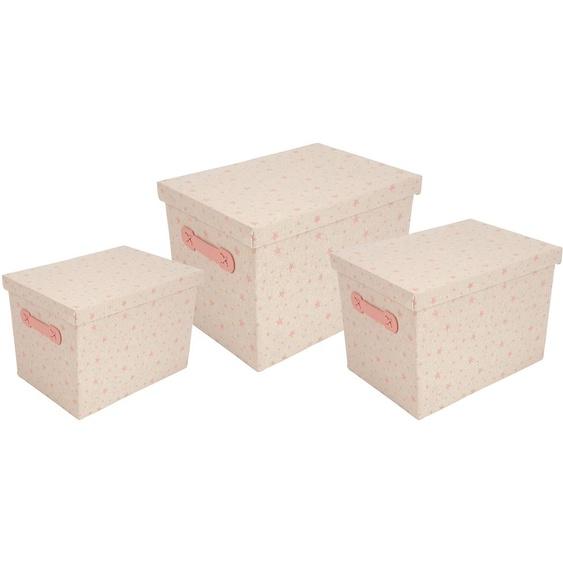 Franz Müller Flechtwaren Aufbewahrungsbox Kids, (Set, 3 St.), mit Deckel, 3er Set B/H/T: 18 cm-22 cm-26 cm x 19 cm-25 28 cm-32 cm-36 cm, Stern rosa Kleideraufbewahrung Aufbewahrung Ordnung Wohnaccessoires