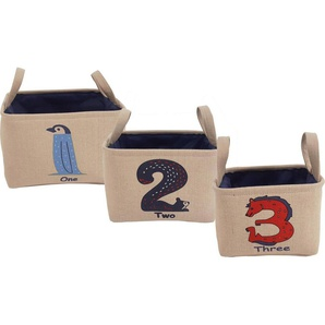 Franz Müller Flechtwaren Aufbewahrungsbox »Kids« (Set, 3 Stück), mit Zahlenaufdruck
