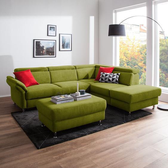 Fredriks Ecksofa Calang Grasgrün Webstoff 267x97x228 cm (BxHxT) mit Schlaffunktion/Bettkasten Modern