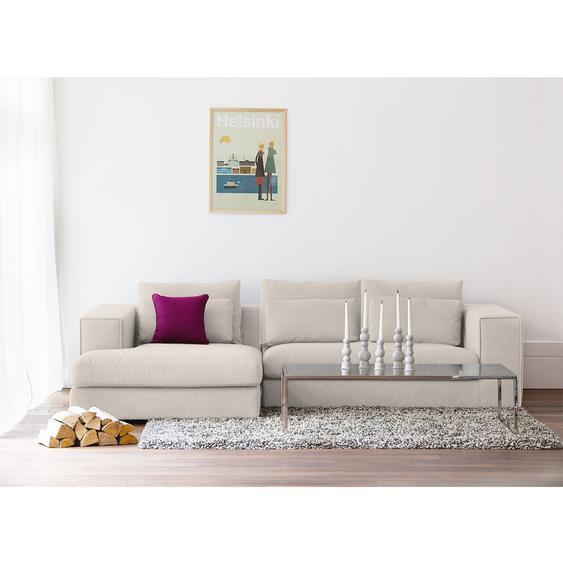 Fredriks Ecksofa Columbia 2-Sitzer Creme Webstoff 284x84x176 cm (BxHxT) Modern