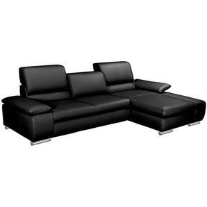 Fredriks Ecksofa Masca II 2,5-Sitzer Schwarz Echtleder 287x78x164 cm (BxHxT) mit Schlaffunktion Modern