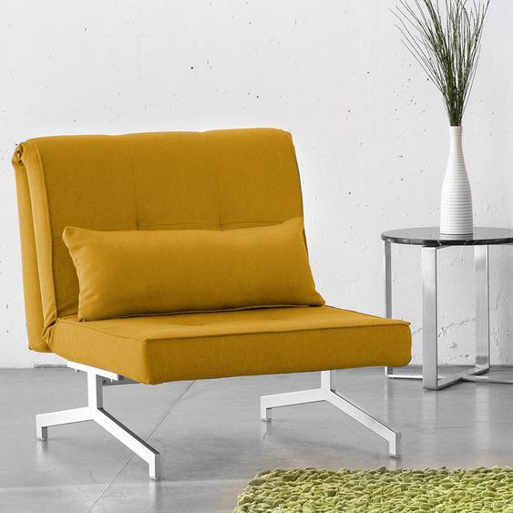 Fredriks Schlafsessel Cardini Uno Senfgelb Webstoff mit Schlaffunktion 84x92x95 cm (BxHxT)