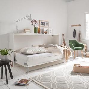 Fredriks Schrankbett KiYDOO smart 90x200 cm Spanplatte Weiß mit Lattenrost/Matratze