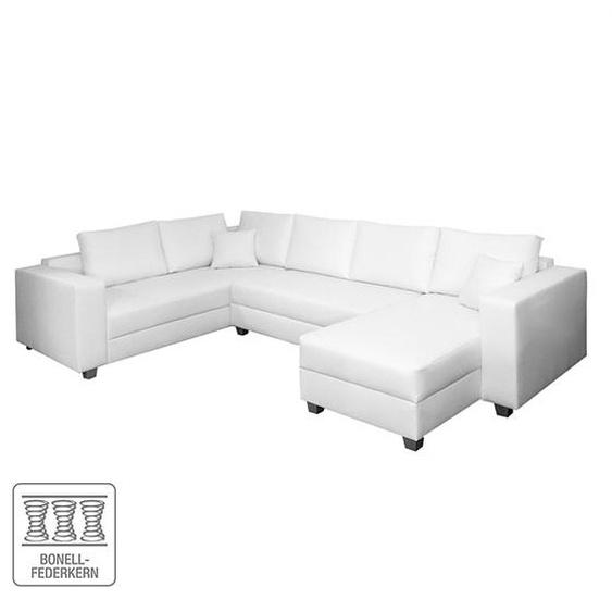 Fredriks Wohnlandschaft Dublin 2-Sitzer Weiß Kunstleder 327x85x223 cm (BxHxT) mit Schlaffunktion/Bettkasten Modern