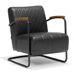 Freischwinger Sessel in Anthrazit Kunstleder Stahl