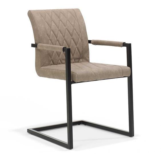 Freischwinger Sessel in Beige Kunstleder Edelstahl Schwarz (2er Set)