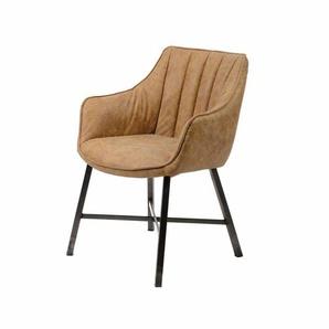 Freischwinger Sessel in Braun Kunstleder Stahl (2er Set)