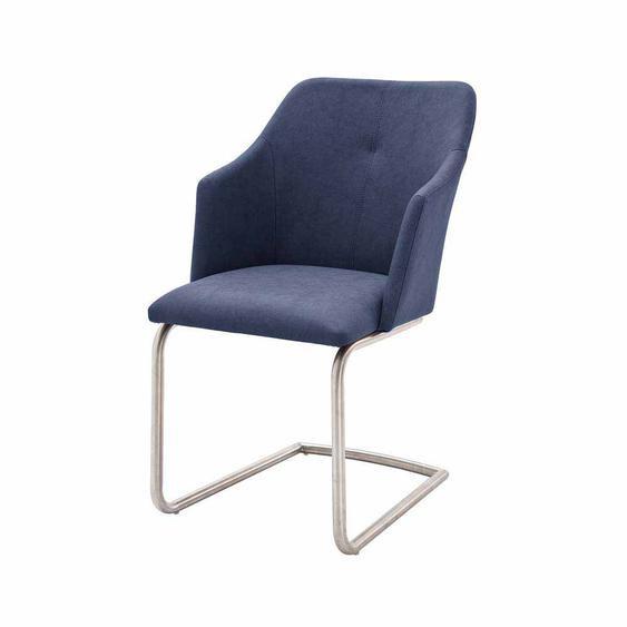 Freischwinger Sessel in Dunkelblau modern (2er Set)