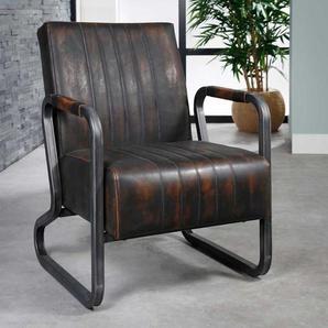 Freischwinger Sessel in Dunkelbraun Kunstleder Loft Design