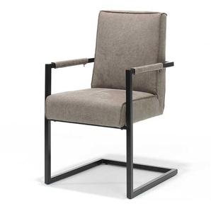 Freischwinger Sessel in Grau Kunstleder Metallgestell (2er Set)