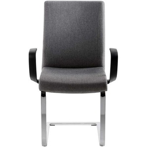 Freischwinger Sessel in Grau Webstoff hoher Lehne