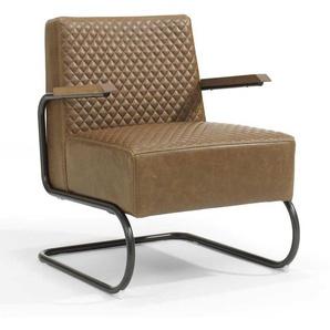 Freischwinger Sessel in Hellbraun Kunstleder Metall