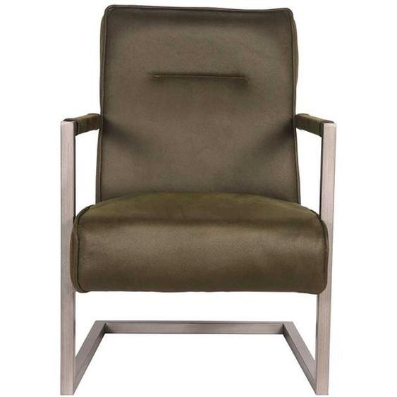 Freischwinger Sessel in Olivgrün Microfaser Wippfunktion