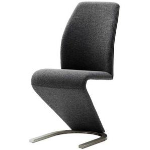 Freischwinger Sessel in Z-Form Grau Webstoff (2er Set)