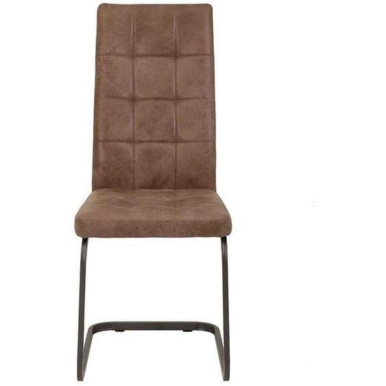 Freischwinger Stühle in Schlammfarben Microfaser hoher Lehne (Set)