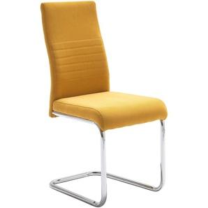 Freischwinger-Stuhl, gelb, 4 Stück,