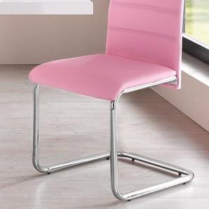 Freischwinger-Stuhl, rosa, 4 Stück,