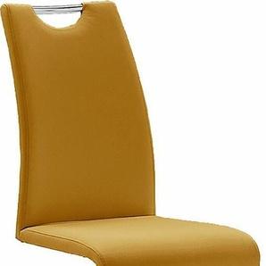 Freischwinger-Stuhl, gelb, 6 Stück,