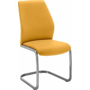 NIEHOFF SITZMÖBEL Freischwinger-Stuhl aus pflegeleichtem Kunstleder in tollen Farben, gelb, 2 Stück