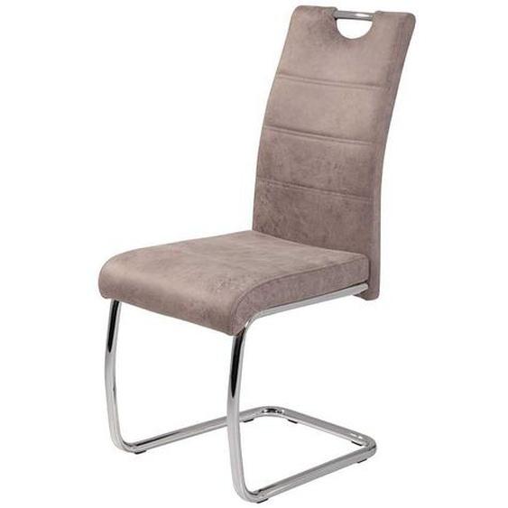 Freischwinger Stuhl in Beige Microfaser hoher Lehne (2er Set)