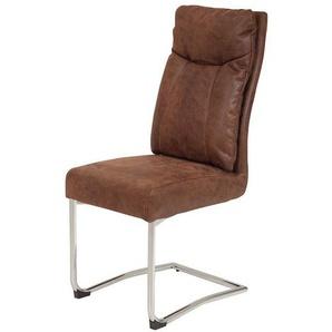 Freischwinger Stuhl in Braun Microfaser hoher Lehne (2er Set)