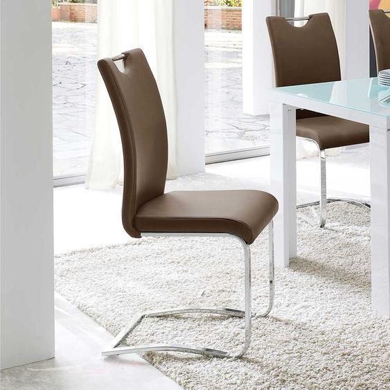 Freischwinger Stuhl in Cappuccino Griff (4er Set)