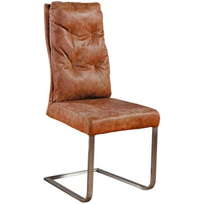 Freischwinger Stuhl in Cognac Braun Kunstleder und Edelstahl (4er Set)