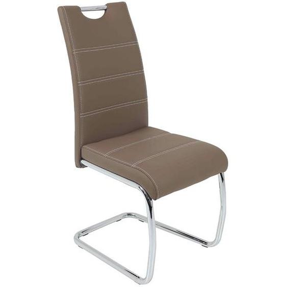 Freischwinger Stuhl in hell Braun Kunstleder verchromtem Metallgestell (4er Set)