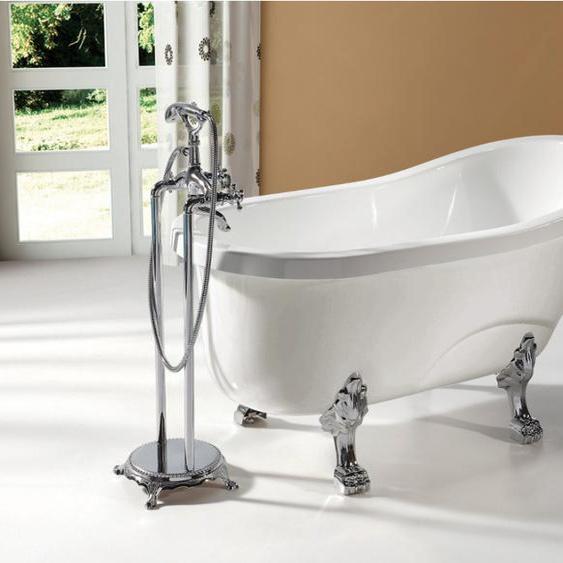 Freistehende Badewanne EGEE II - 171 L - Weiß mit silberfarbenen Füßen