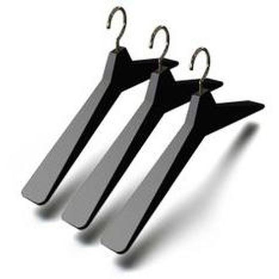 FROST - Kleiderbügel Unu 4, (3er-Set), schwarz / poliert