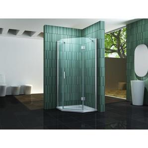 Fünfeck-Duschkabine ELBO 90 x 90 x 195 cm ohne Duschtasse - IMPEX-BAD
