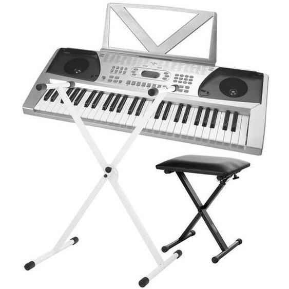 FunKey 54 Tasten Keyboard SET inkl. Keyboardständer Weiß + Bank