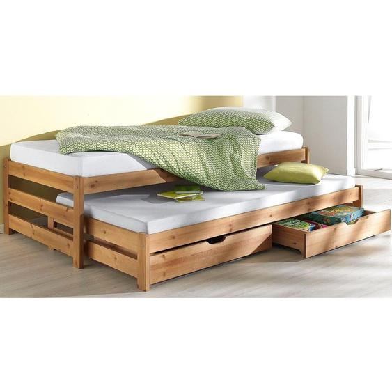 Funktions-Bett, FSC®-zertifiziert, beige, Material Kiefer,