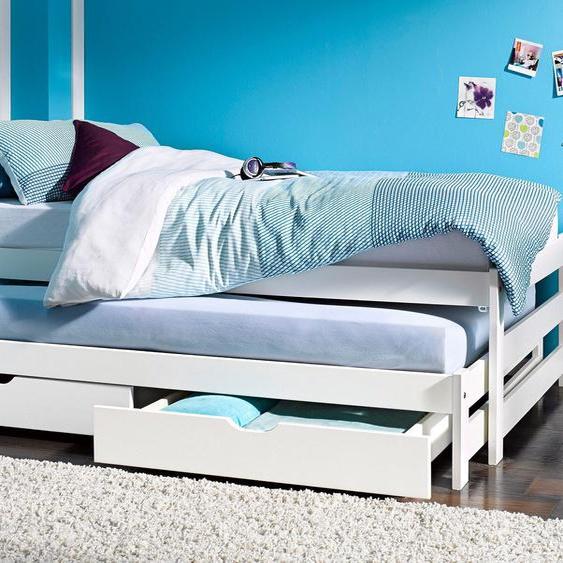 Funktions-Bett, FSC®-zertifiziert, weiß, Material Kiefer,