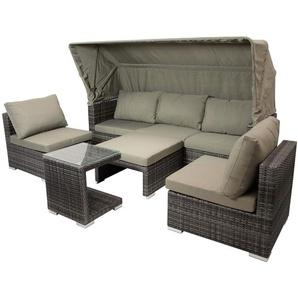 Funktions- Loungeset in grauem Polyrattan mit Auflagen in taupe, 3-sitzer Sofa mit Verdeck, 2 Sessel, Hocker und Anstelltisch