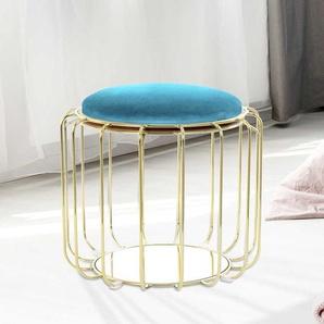 Funktions Polsterhocker in Blau und Goldfarben wendbarer Sitzfläche