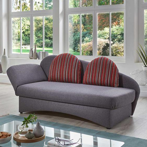 Funktions Sofa in Grau und Rot gestreift Made in Germany