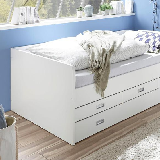 Funktionsbett »Alaska«, 126x206x75 cm (BxLxH), , weiß, Material Holzwerkstoff, Kunststoff