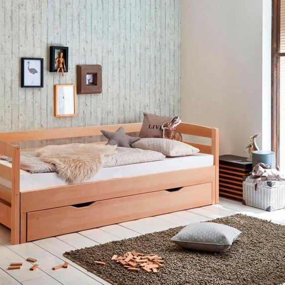 Funktionsbett, 98x214x72 cm (BxLxH), FSC®-zertifiziert, Relita, braun, Material Buche