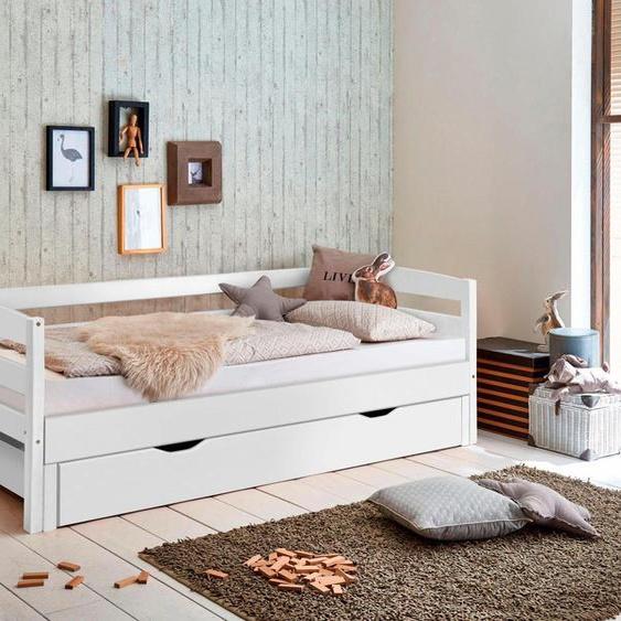 Funktionsbett, 98x214x72 cm (BxLxH), FSC®-zertifiziert, Relita, weiß, Material Buche