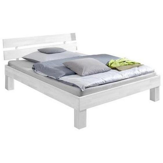 Mid.you Futonbett Buche massiv , Weiß , Holz , 140x200 cm , Schlafzimmer, Betten, Futonbetten
