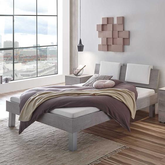 Futonbett in Beton Grau Klemmkissen in Weiß